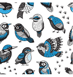 Hand drawn tropical birds pattern vector