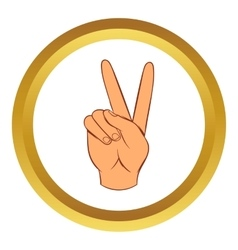 Hand with victory sign icon cartoon style vector