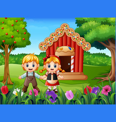 Hansel and gretel outside of house vector