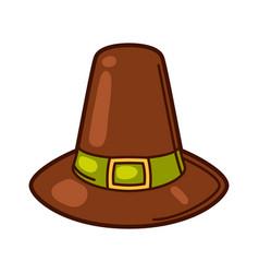 happy thanksgiving of pilgrim hat vector image