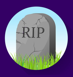 Headstone icon in cartoon style funeral ceremony vector