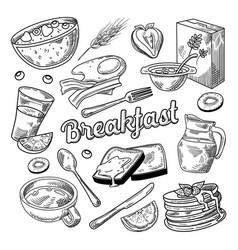 Healthy breakfast hand drawn doodle food vector