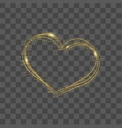 Heart with gold dots and confetti vector