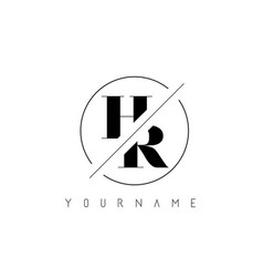 Hr letter logo with cutted and intersected design vector