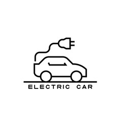 icon electric car in line style vector image