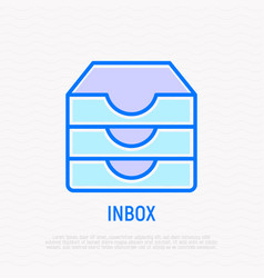 Inbox message thin line icon vector