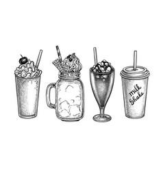 Ink sketches beverages vector
