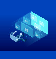 isometric webinar conference online video vector image