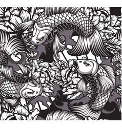 japanese theme seamless pattern with koi carps vector image