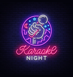 Karaoke night neon sign luminous logo vector