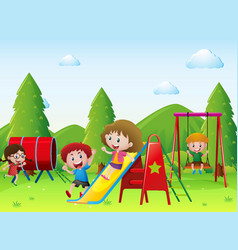 kids playing together in the playground vector image
