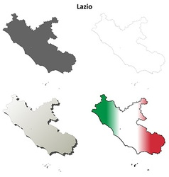 Lazio blank detailed outline map set vector
