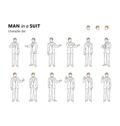 line art of a young man in a suit vector image