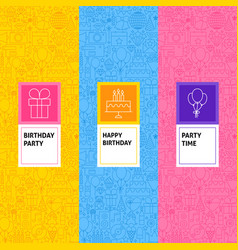 line birthday patterns set vector image