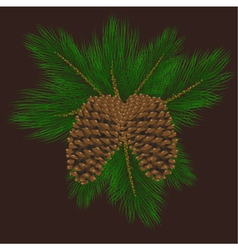 Llustration of pine cones with pine needles vector