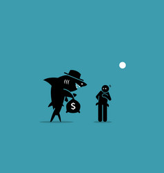 Loan shark and a poor man artwork depicts a vector