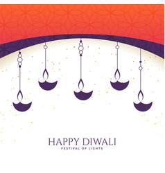 Lovely happy diwali diya background vector