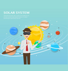 man wearing virtual reality glasses in universe vector image