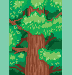 Oak tree trunk with green foliage vector
