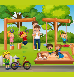 people playing in playground vector image