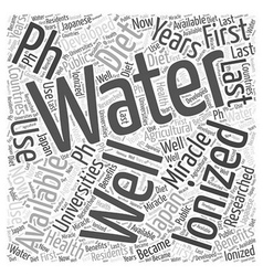 PH miracle diet and water ionizers Word Cloud vector