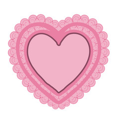 Pink color double heart with decorative frame vector