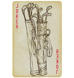 Playing Card Joker - Golf Clubs Bag Freehand vector image