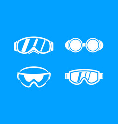 protect glasses icon blue set vector image