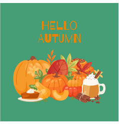 pumpkin and fall leaves bouquet mug with hot vector image