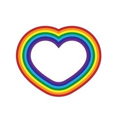 Rainbow icon heart flat vector