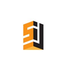 s and j - initials monogram or logotype design vector image