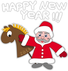 Santa claus and wooden horse vector