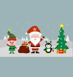 santa claus holding a red bag with gifts a pig in vector image