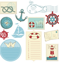 scrapbook sea elements vector image