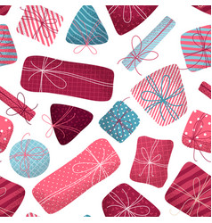 seamless pattern of various gifts vector image