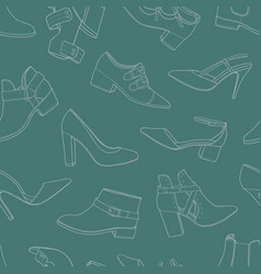 seamless pattern with various models of shoes and vector image