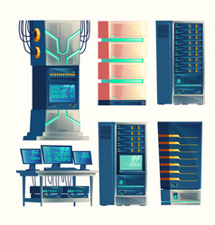 Server center control room data storage vector