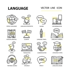 Set modern linear icons on the topic of learning a vector