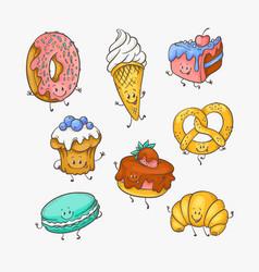 set of cute sweet desserts vector image