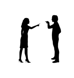 Silhouette man and woman blame each other vector