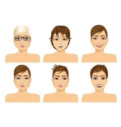 six handsome caucasian men faces vector image