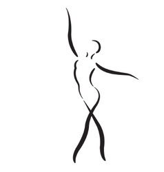 Sketched dancing woman isolated on white vector image