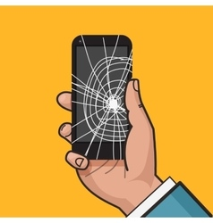 Smartphone with a cracked screen vector