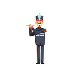 Soldier playing flute member of army military vector
