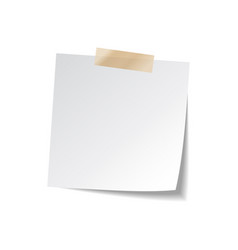Sticky paper note with tape and shadow isolated on vector