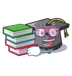 student with book graduation hat mascot cartoon vector image
