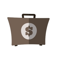 suitcase money dollar business flat icon vector image