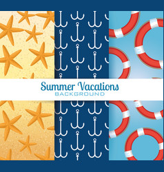 summer vacations set patterns backgrounds vector image