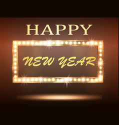 The new year greeeting banner with retro light vector