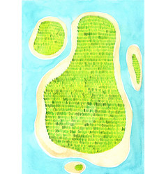 top view island watercolor background vector image